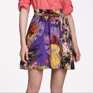 Anthro Maeve Carrizo Abstract Floral Silk Skirt